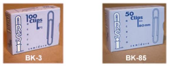 Clips ARSI. Metélicos, fabricados en Chile por FACTA LTDA.